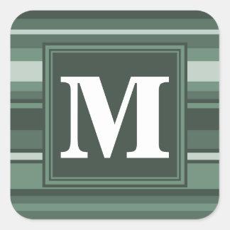 Randar för Monogramvis mangrönt Fyrkantigt Klistermärke
