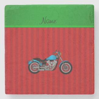 Randar för motorcykel för personlignamnblått röda underlägg sten