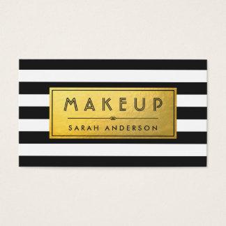 Randar för svart för etikett för Makeuptypografi Visitkort