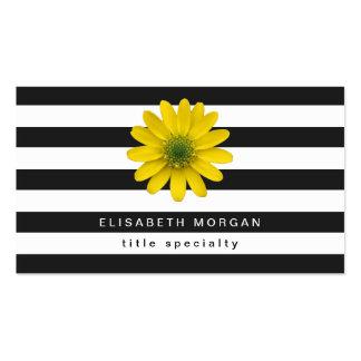 Randar för vit för gula Gerberadaisyblommor svart Set Av Standard Visitkort