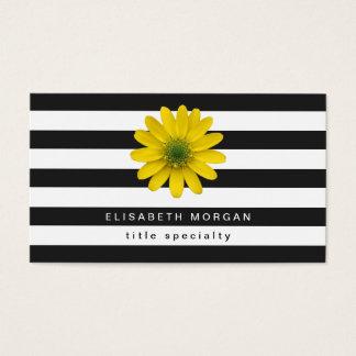 Randar för vit för gula Gerberadaisyblommor svart Visitkort