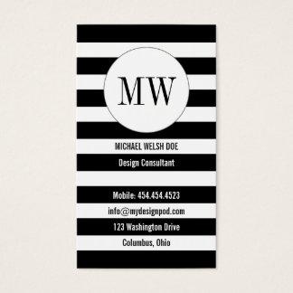 Randar som är svartvita med Monograminitialer Set Av Standard Visitkort