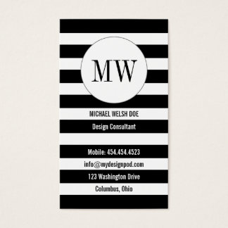 Randar som är svartvita med Monograminitialer Visitkort