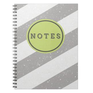 Randig anteckningsbok för grått- och vitGrunge
