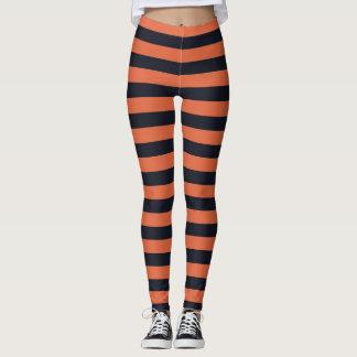 Randig damasker för orange och för svart leggings