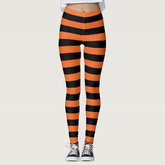 Randig för orange och häxaHalloween för svart Leggings