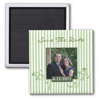 Randig fotospara datum magneter för grönt och för