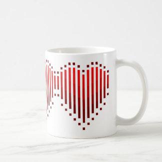 Randig hjärta vit mugg