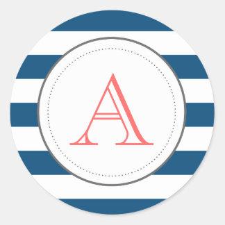 Randig Mongram för marin klistermärke