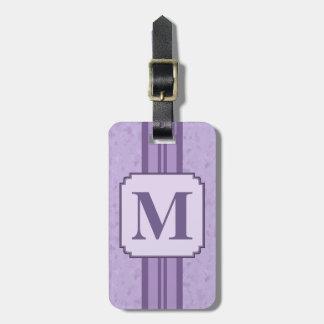 Randig Monogram för purpurfärgad Bagagebricka