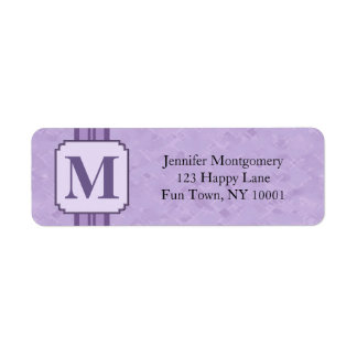 Randig Monogram för purpurfärgad Returadress Etikett