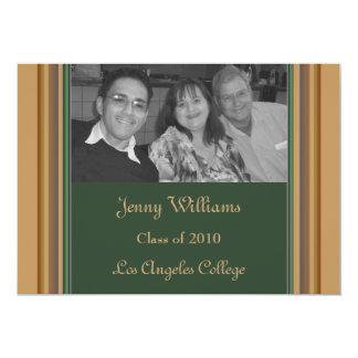 Randig studenten för grön brunt 12,7 x 17,8 cm inbjudningskort