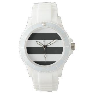 Randig (svart- & för vit   vågrät) anpassade armbandsur