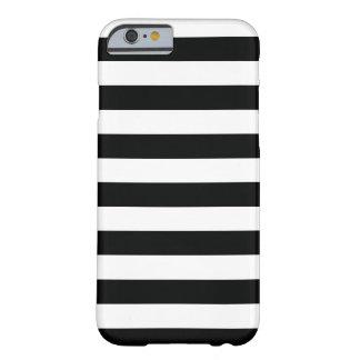 Randig (svart- & för vit | vågrät) anpassade barely there iPhone 6 skal