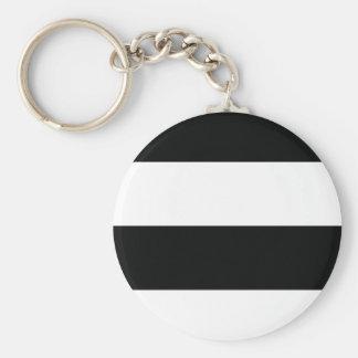 Randig (svart- & för vit | vågrät) anpassade rund nyckelring