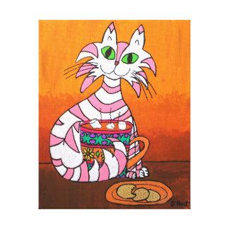 Randig tabby katt för rosor med kakor & varm kakao canvastryck