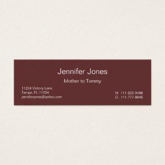 Randig telefonkort för brunt och för blått litet visitkort