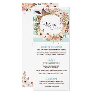 Randiga kort för Boho blom- bröllopmeny 10,2 X 23,5 Cm Inbjudningskort