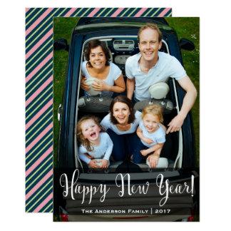 Randigt fotokort för nytt år 12,7 x 17,8 cm inbjudningskort