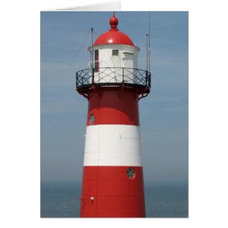 Randigt fyr- och havsfotokort för röd vit hälsningskort