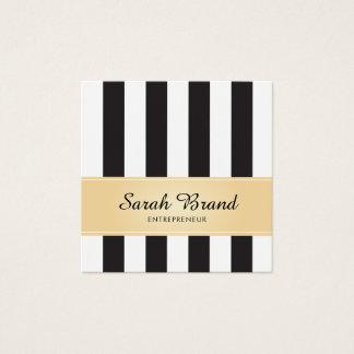 Randigt svartvitt med Fauxguld Fyrkantigt Visitkort