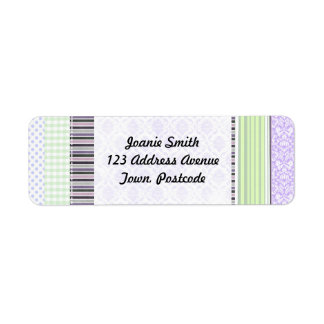 Randmönster för grönt & för lilor flickaktigt returadress etikett