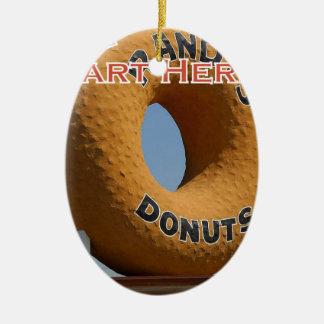 Ransdys Donuts Long Beach Kalifornien LBC Julgransprydnad Keramik