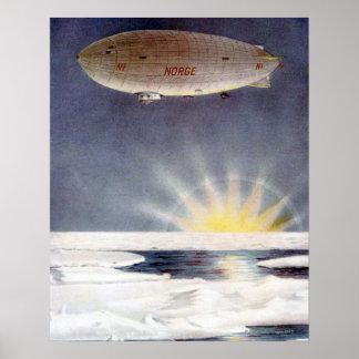 Raold Amundsens airship Norge över nordpolenen Affisch