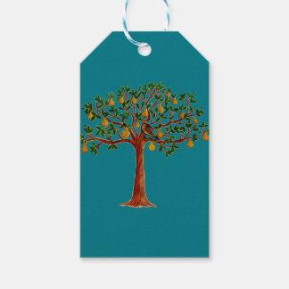 Rapphöna 2 i märkre för en gåva för Pearträd Presentetikett