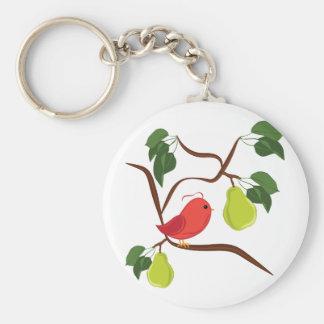 Rapphöna i Pearträd Rund Nyckelring