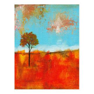 Raptureabstrakt landskap trädkonstmålning vykort