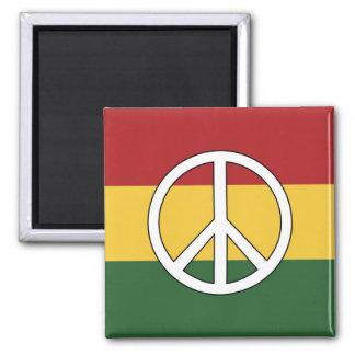 Rasta färgar fredsymbol magnet