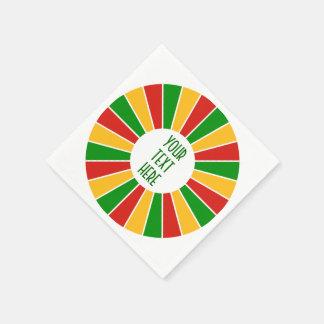 RASTAFARI-FLAGGA KNÄPPAS STRÅLAR + ditt Pappersservett