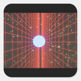 Raster i utrymme. (utrymme; grids_Spaceplatser Fyrkantigt Klistermärke