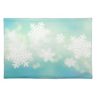 Rasterillustration av glödande snöflingor bordstablett