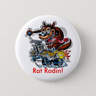 Råtta på hot rod, råtta Rodin! Standard Knapp Rund 5.7 Cm