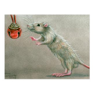 Råttan med rött sätta en klocka på vykortjul