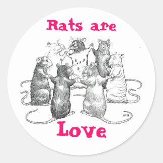 Råttor är kärlek runt klistermärke