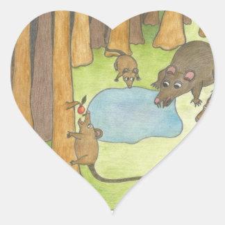Råttor Hjärtformat Klistermärke
