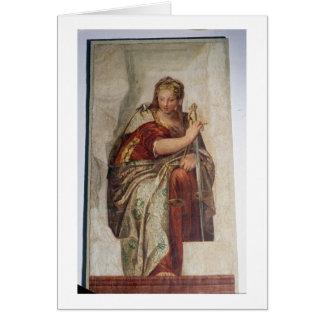 Rättvisa från väggarna av sacristyen (frescoen) hälsningskort