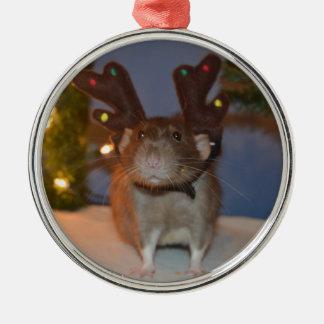 Ratty ren rund silverfärgad julgransprydnad