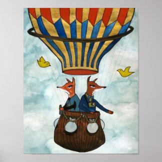 Rävar i en luftballong poster