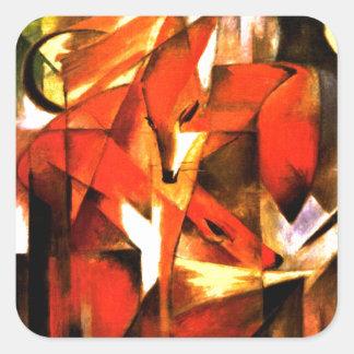 Rävar vid Franz Marc konst Fyrkantigt Klistermärke