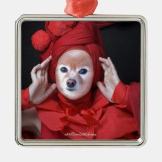 Räven är damen i rött julgransprydnad metall