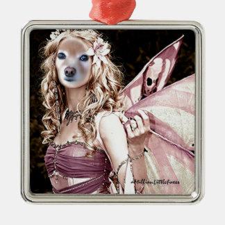 Räven är en rosa fe julgransprydnad metall