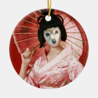 Räven är en rosa Geisha Julgransprydnad Keramik
