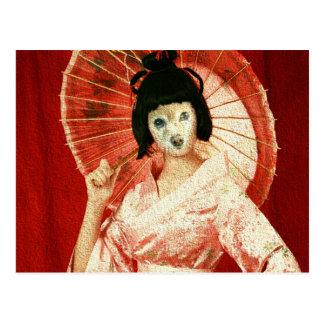 Räven är en rosa Geisha Vykort