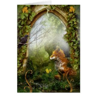Räven och kråkan hälsningskort