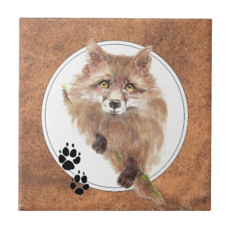 Räven rävar, djur spårar, naturen kakelplatta