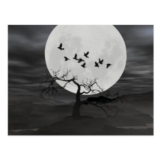 Ravens mot fullmånen vykort